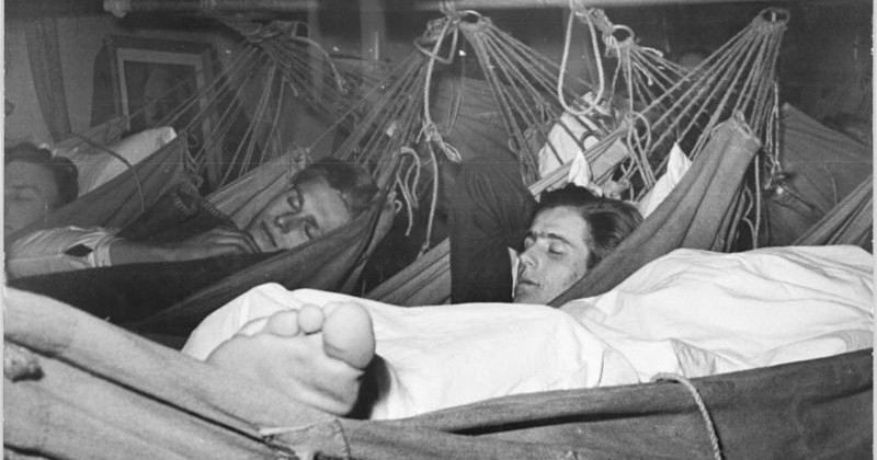 East German school ship crew sleeping in their hammocks, 1951.