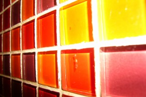 colored tiles in wall