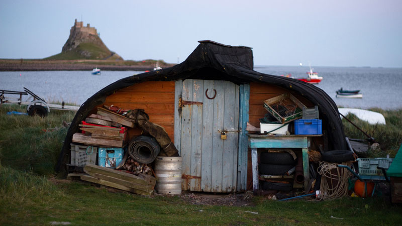 Lindisfarne UK boat shed