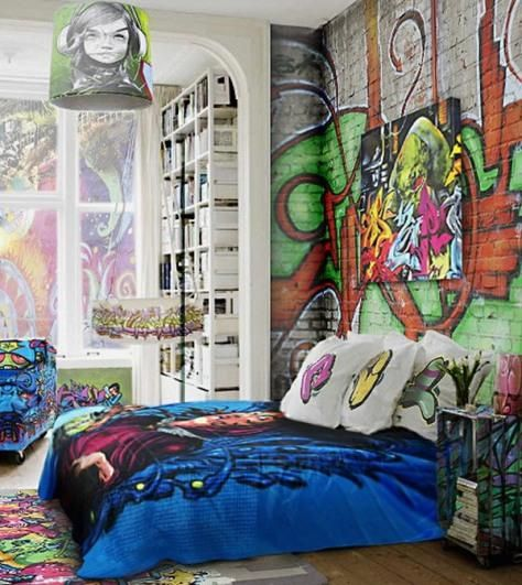 Colorful Graffiti Blended In With The Bedsheets And Nightstand