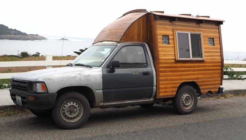 Pickup-Truck-With-Homemade-Wooden-Camper-Shell