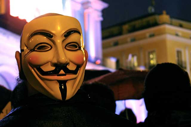 Anonymous mask during a demonstration in Spain