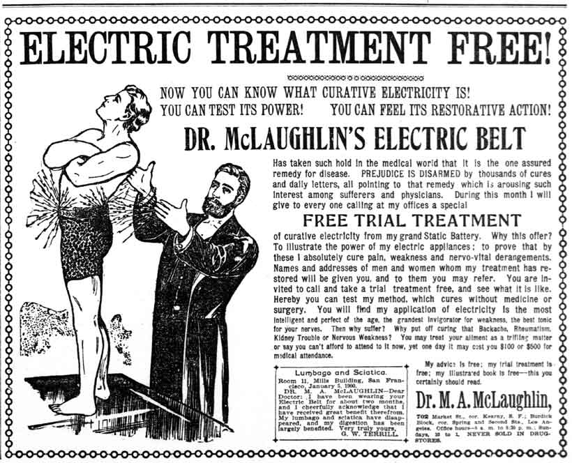 Dr. McLaughlin ad for curative electricity
