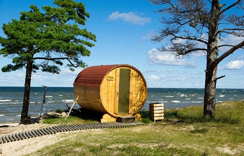 idyllic sauna setting at Latvian beach