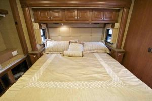linen bedding in an RV